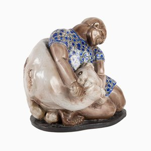 Enamelled Ceramic Sculpture by Maurice Gensoli, 1930s