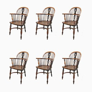Antique Windsor Lowback Dining Chairs, Set of 6