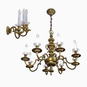Antikes Set aus Kronleuchter & Wandlampe mit Messingrahmen