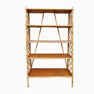 Vintage Bamboo and Rattan Bookcase by Louis Sognot