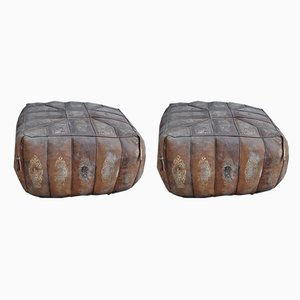 Vintage Egyptian Ottomans, 1970s, Set of 2