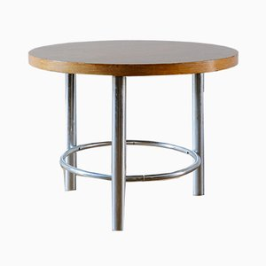 Round Vintage Tubular Steel Coffee Table from Mücke Melder, 1930s