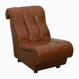 Mid-Century Brown Leatherette Lounge Chair, 1960s