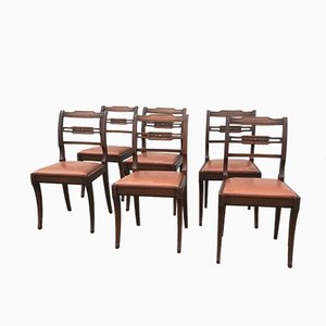 Vintage Leather & Mahogany Dining Chairs, Set of 6