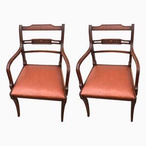Vintage Leather & Mahogany Armchairs, 1960s, Set of 2