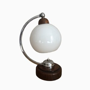Vintage Art Deco Wood, Chrome & Opaline Glass Table Lamp