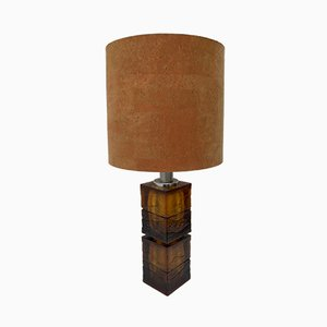 Mid-Century Italian Amber Murano Glass Table Lamp from Maestri Vetrai, 1960s