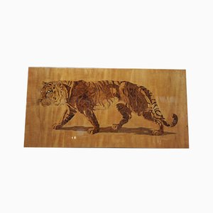Great Bengal Tiger Marquetry Inlaid Wooden Panel from Pierre Rosenau, 1930s