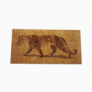 Pannello con intarsi a forma di tigre del Bengala in legno intagliato di Pierre Rosenau, anni '30