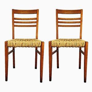 Beistellstühle mit Holzgestell & Sitz aus Seilgeflecht von Adrien Audoux & Frida Minet, 1950er, 2er Set