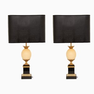 Vintage Ostrich Egg & Slate Table Lamps from Maison Charles, Set of 2