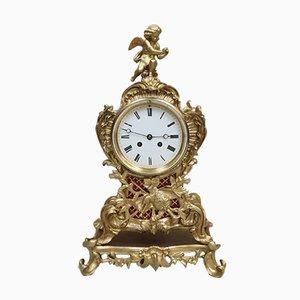 Reloj de repisa francés estilo rococó antiguo de latón dorado de Japy Freres, década de 1880