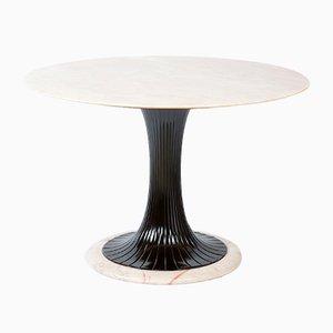 Mesa de comedor italiana Mid-Century redonda de mármol de Vittorio Dassi para Dassi Lissone, años 50