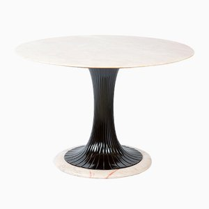 Mid-Century Italian Marble Round Dining Table by Vittorio Dassi for Dassi Lissone, 1950s