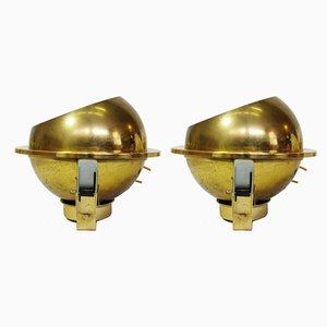 Lampenschirm aus vergoldetem Metall, 1970er, 2er Set
