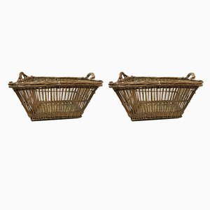 Antique Wicker Baskets, Set of 2