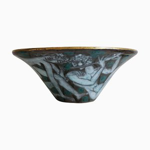 Large Art Deco French Enameled Earthenware Cup by Edouard Cazaux, 1920s