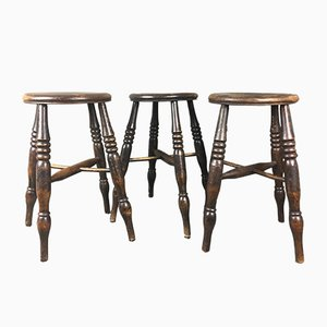 Antique English Elm Stools, Set of 3