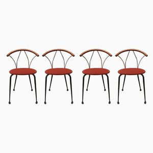 Italian Wooden and Chromed Metal Dining Chairs, 1980s, Set of 4