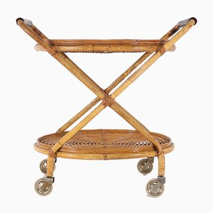 Bamboo & Leather Trolley, 1960s