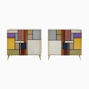 Mobiletti in ottone e vetro di Murano di L.A. Studio, Italia, anni '50, set di 2
