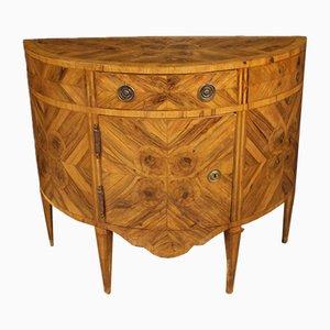 Aparador italiano estilo Luis XV en forma de media luna de madera, años 50