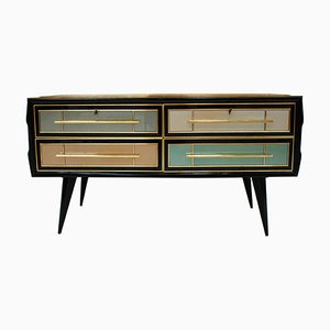 Mid-Century Italian Solid Wood and Colored Glass Sideboard