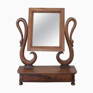 Espejo de mesa antiguo de nogal tallado, década de 1820