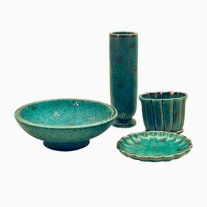 Bols et Vases Argenta Vintage en Grès par Wilhelm Kåge pour Gustavsberg, Set de 4