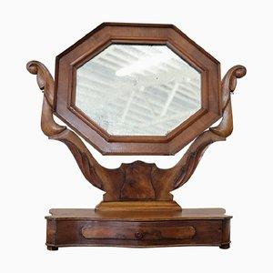 Antiker Tischspiegel mit Rahmen aus Nussholz, 1880er