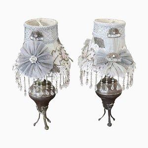 Lámparas de mesa vintage de metal plateado, años 20. Juego de 2