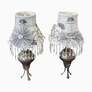 Vintage Silvered Metal Table Lamps, 1920s, Set of 2