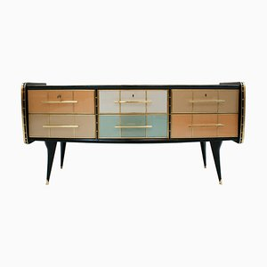 Mid-Century Italian Solid Wood and Colored Glass Sideboard, 1950s