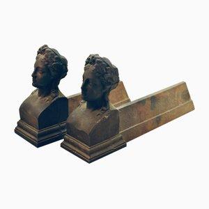Andironen aus Eisen, 19. Jh., 2er Set