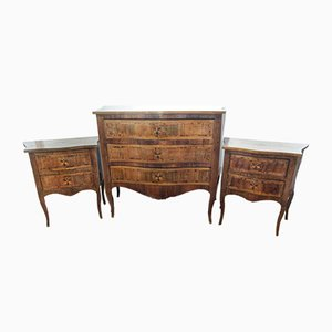 19th-Century Napoleon III Walnut Commode & 2 Nighstands Set