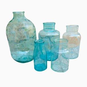 Vintage Industrial Glass Jars, Set of 5
