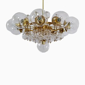 Mid-Century Brass & Hand-Blown Glass Chandelier, 1960s