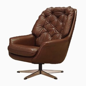 Vintage Danish Leather Armchair, 1970s