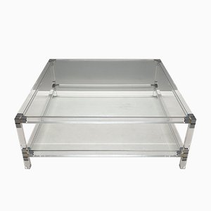 Vintage Lucite, Gilt & Chromed Metal 2-Tier Square Coffee Table, 1970s