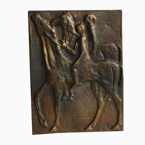 Placca Mid-Century in bronzo con cavalli, anni '70