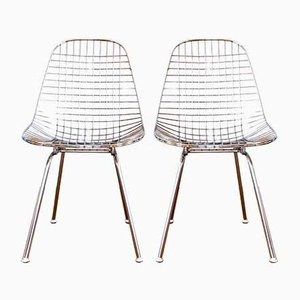 Chromed Steel DKX Dining Chairs by Charles & Ray Eames for Herman Miller, 1950s, Set of 2