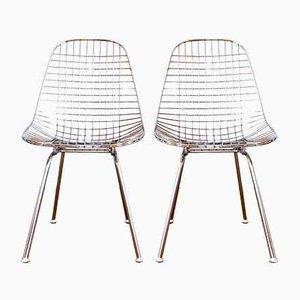 DKX Esszimmerstühle aus verchromtem Stahl von Charles & Ray Eames für Herman Miller, 1950er, 2er Set