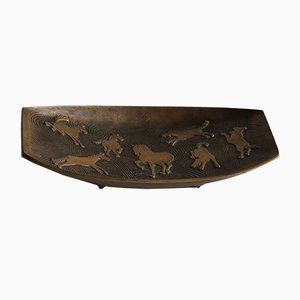 Mid-Century Bronze Wall Plaque With Horses, 1970s