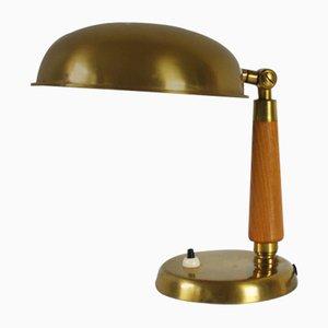 Lampe de Bureau en Laiton et Bois, 1930s
