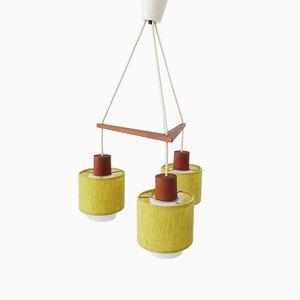 Mid-Century Deckenlampe aus Teak & Opalglas im skandinavischen Design