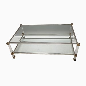 Vintage Lucite & Gilt Metal 2-Tier Coffee Table by Pierre Vandel, 1980s