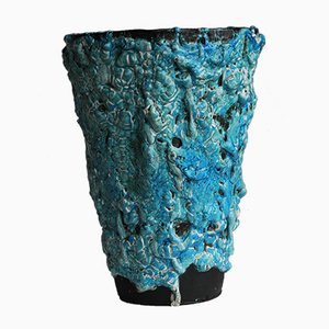Turquoise Vase Émaux Des Glaciers by Charles Cart for Cyclope, 1960s
