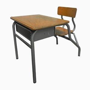 Banco da scuola da bambino industriale con sedia, anni '60