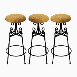 Mid-Century Wrought Iron Bar Stools, 1960s, Set of 3