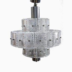 Deckenlampe aus geschliffenem Kristallglas, 1970er
